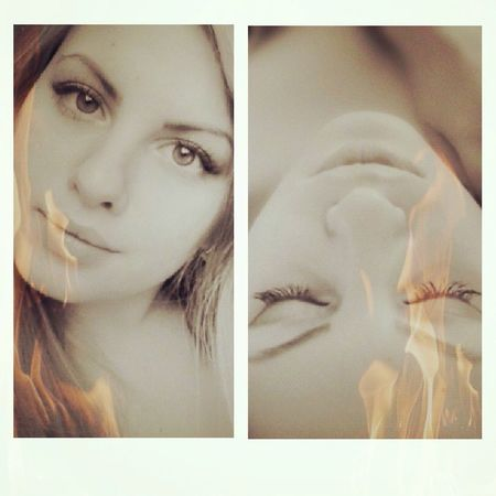 Girl Collage Fire Blond Eyes Lips Sepia Dreams Everyday Joy Memories