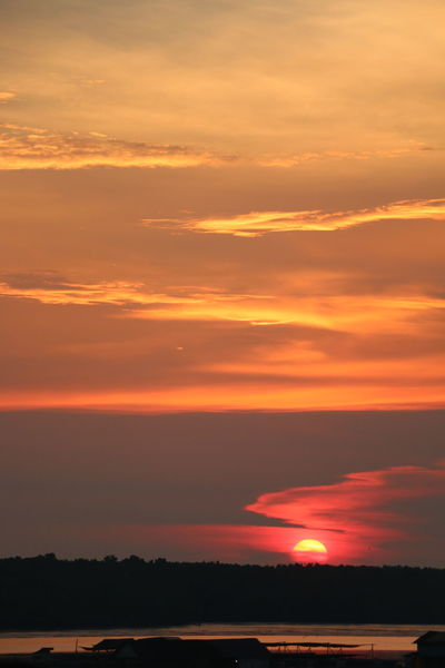 Beauty In Nature Cloud - Sky Dissapearing Idyllic Kelong Kukup Landscape Low Sun Effect Nature No People Orange Color Outdoors Scenics Silhouette Sky Sunset Tranquil Scene Tranquility Tree