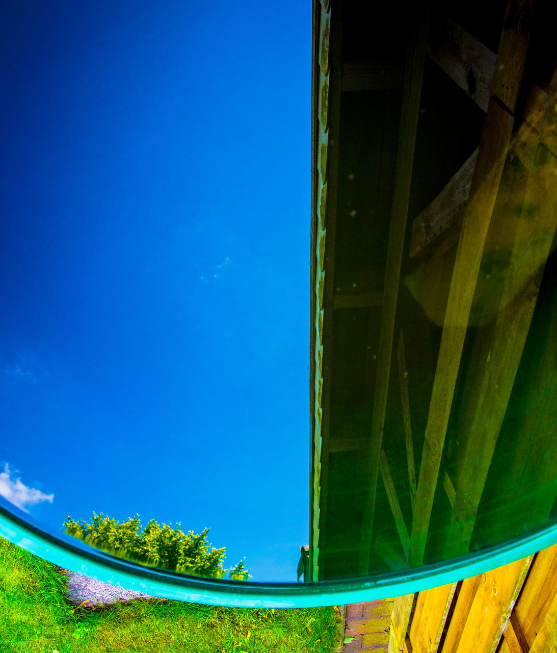 blue, green color, day, outdoors, sky, nature, no people, grass, growth, beauty in nature, architecture, tree