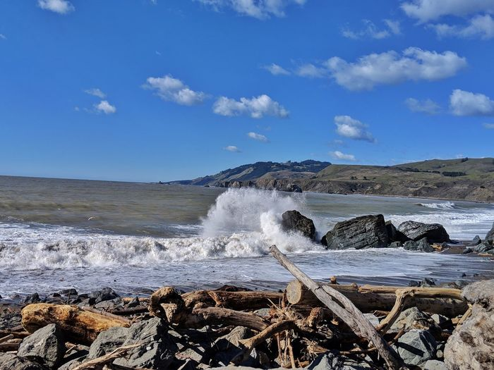 Driftwood foreground. Crashing waves! Water Sea Beach Wave Rock - Object Sky Horizon Over Water Crashing Power In Nature Rocky Coastline Erupting Force Surf Rock Formation Tide Flowing Water
