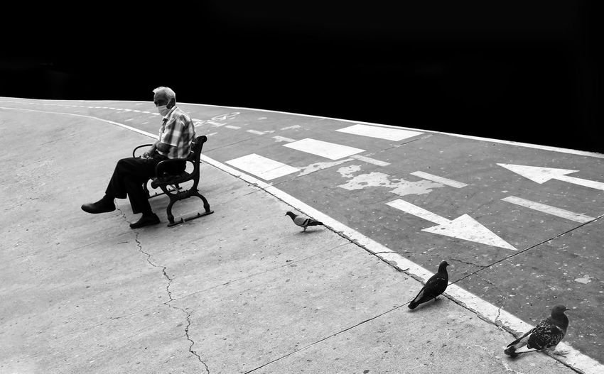 High angle view of man sitting on footpath
