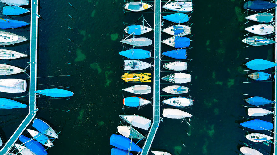 Drone  Blue And White Dronephotography High Angle View Highlights Lake View Mode Of Transportation No People Ships Technology Water Yellow The Photojournalist - 2018 EyeEm Awards