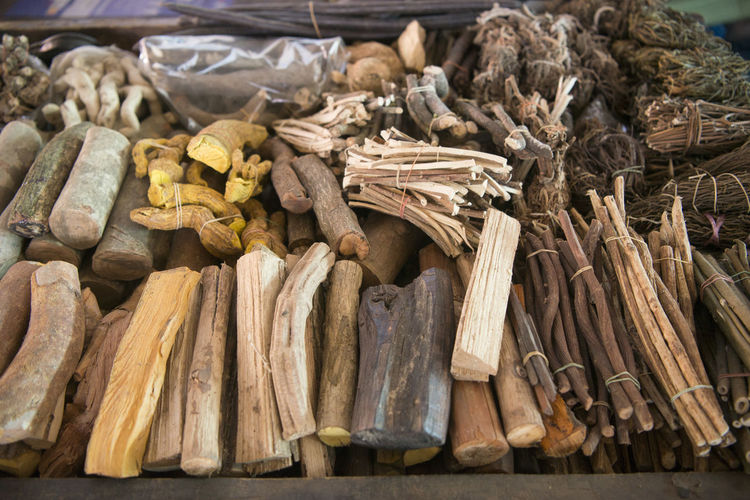 Various herbal medicines for sale at market