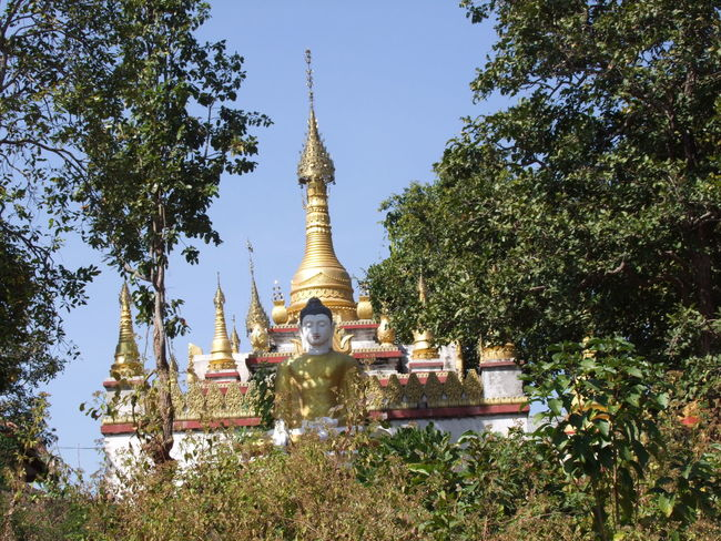 Stupa at Buddhist Temple, Mount Popa Town Blue Sky Buddha Statue Buddhist Pagoda Buddhist Temple Built Structure Composition Distant View Full Frame Gold Coloured Mount Popa Myanmar No People Outdoor Photography Pagoda Place Of Worship Religion Shining Spirituality Stupa Sunlight Tourist Attraction  Tourist Destination Tree