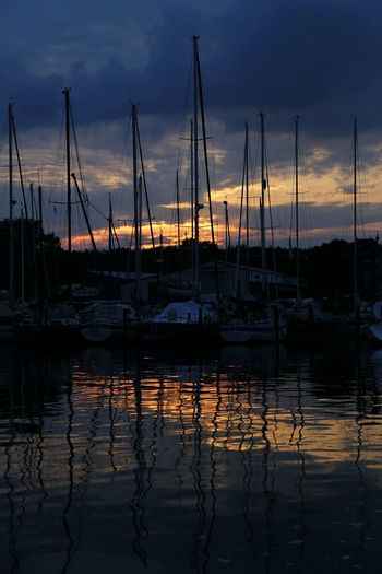 Hafen Abendstimmung Segelboote Night And Day Water Reflections Sailing Golden Hour Harbour & Ships Sailing Ship Reflection Nautical Vessel Tranquil Scene Sailboat Harbor