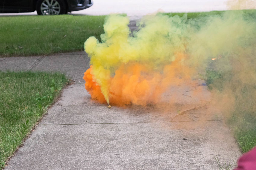 Abstract Celebration Color Grass Outdoors Sidewalk Smoke Smoke Bomb Summer