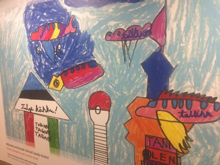 Estonia Tallinn Airplane Airport Child Drawing Close-up Drawing Multi Colored Text