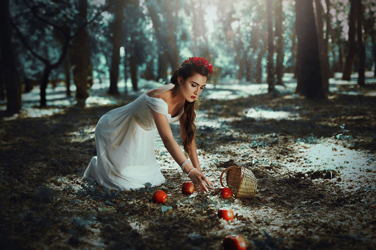 The poisoned apple Story Snow Nature Fineart Girl Apple Red This picture is part of a Serie i worked with such nice team, inspired in Snow white. Is my first time working with make up artist and a professional model, i really enjoyed it. The Portraitist - 2016 EyeEm Awards