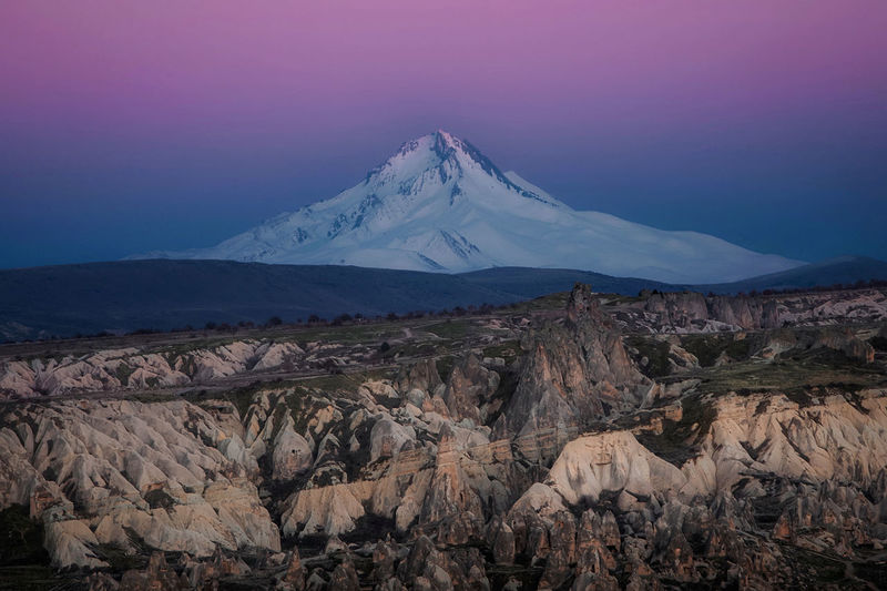 Mountain after sunset in cappadocia