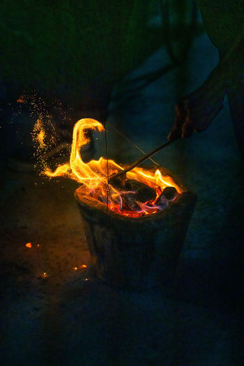 Light painting on fire at night