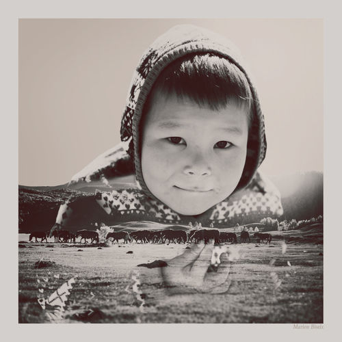 Double Exposure Kid Mongolianboy Mongolia Landscape Artphotography