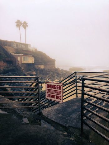 Abandoned Railing Fog Day Outdoors Built Structure Landscape Mountain Architecture No People Sky Nature