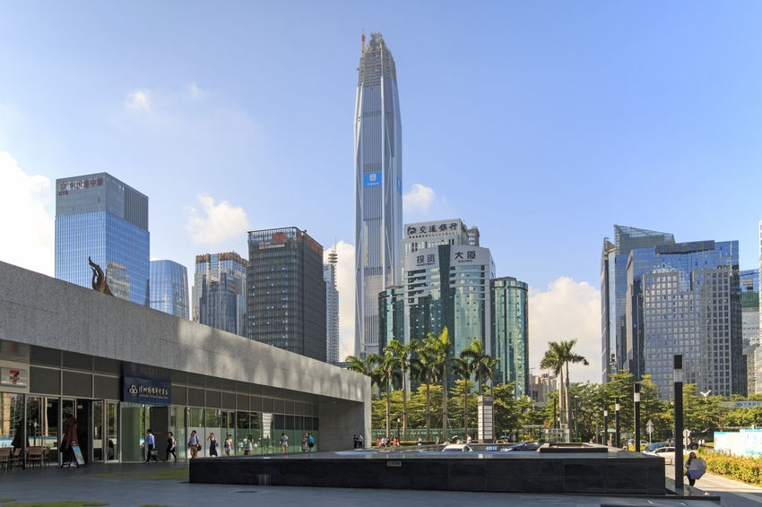 Shenzhen, China - August 19,2015: Shenzhen skyline as seen from the Stock Exchange building with the Ping An IFC, the tallest building of the city, on background Architecture ASIA Building Exterior Built Structure Bull China City City Life Crisis Economy Financial Guandong City Hong Kong Modern Office Building Ping An Ifc Shanghai Shenzhen Shenzhen.China Sky Skyscraper Stock Market Stockexchange Tall - High Tower