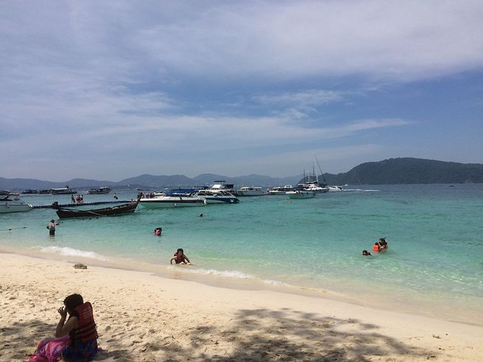 Sea Water Sky Beach Nautical Vessel Scenics Cloud - Sky Sand Outdoors Leisure Activity Vacations Transportation Nature Beauty In Nature Tourist Real People Tranquility Coral Island,Thailand