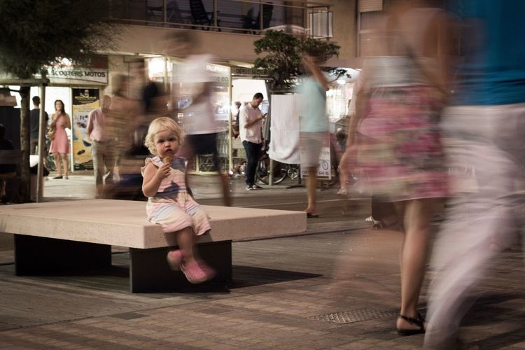Lonesome girl. Blurred Motion Motion People Childhood Movement Streetphoto Street Photography Street Streetphotography Urban Lonesome Alone In The City  Little Girl