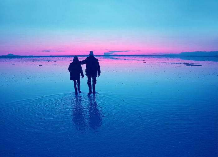 Rear view of couple walking on shore against sky during sunset