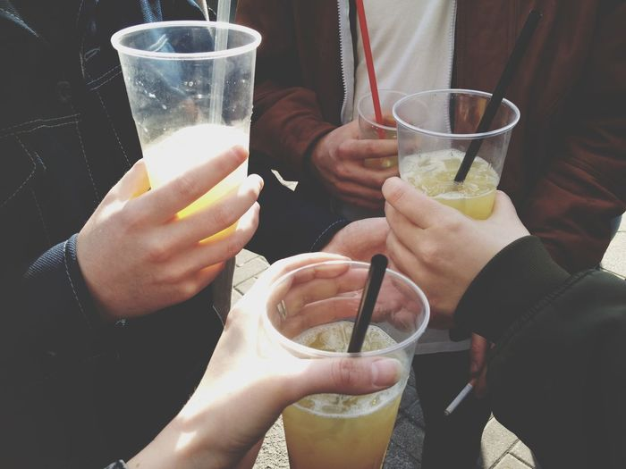 Group of friends toasting on party