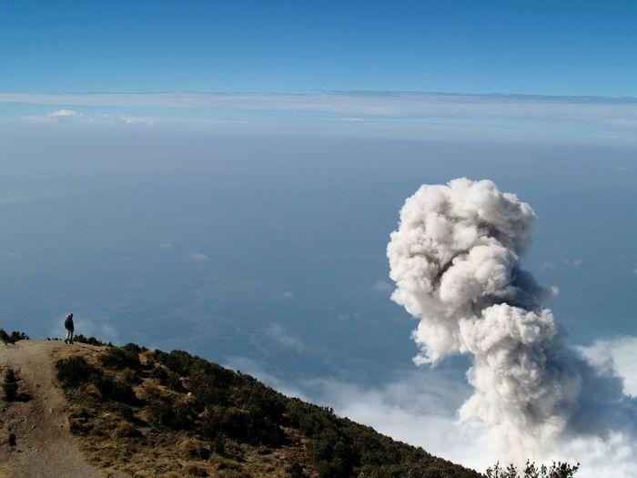 High Angle View Of Santa Maria Volcano Against Sky