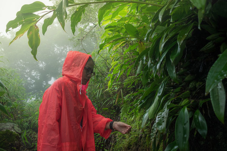 Woman wearing orange raincoat while standing in forest during rainy season