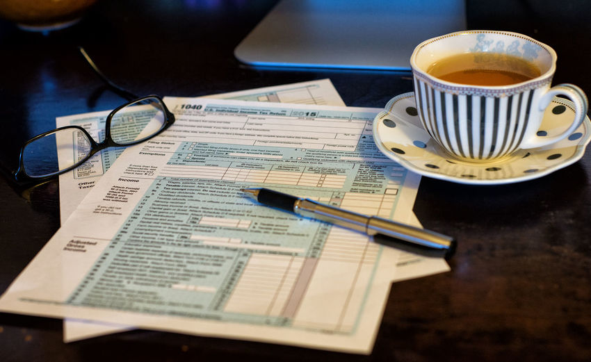 Tea Time Tea Cup Tea Tax Forms Taxes Close-up Coffee - Drink Coffee Cup Drink Food And Drink Indoors  No People Paper Table