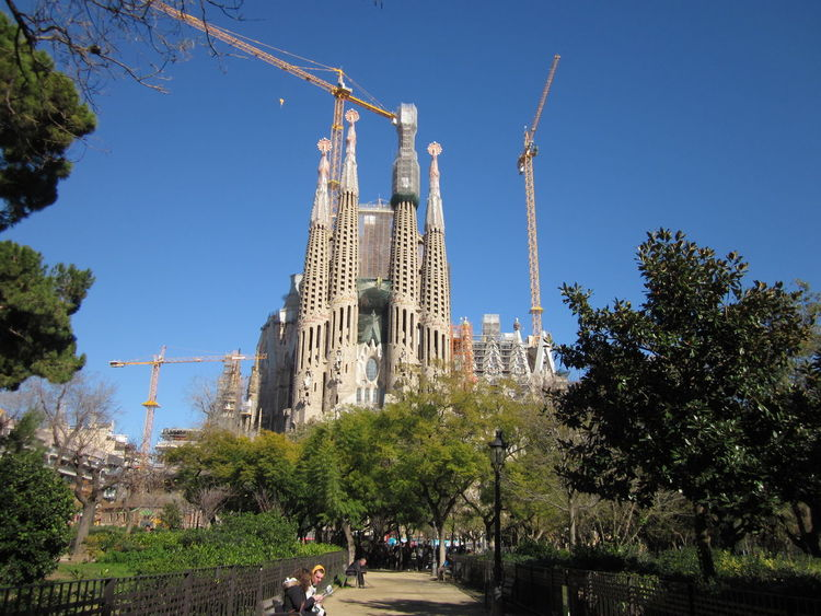 Segrada Familia under construction Segrada Familia Architecture Built Structure Clear Sky Day Growth No People Outdoors Place Of Worship Religion Site Sky Spirituality Under Construction