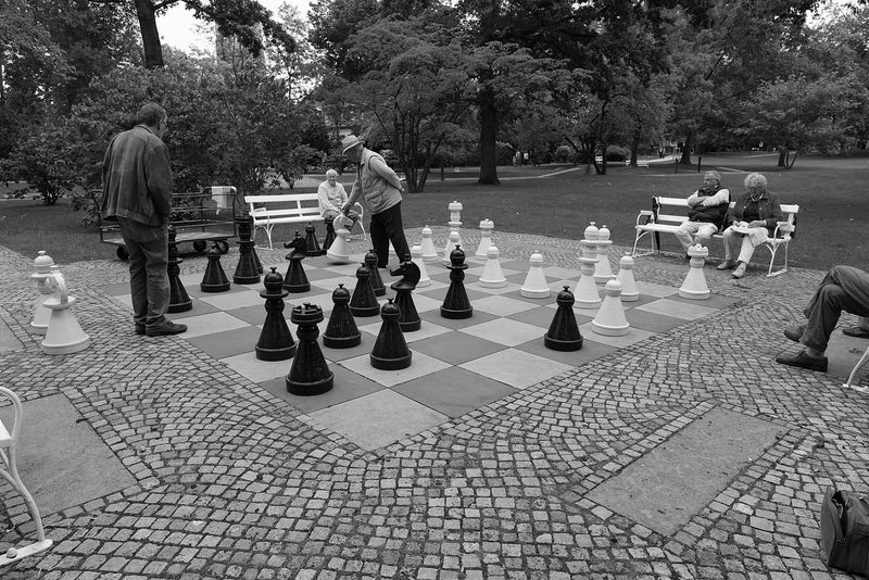 Street Photography Monochrome A Walk In The Park Chess