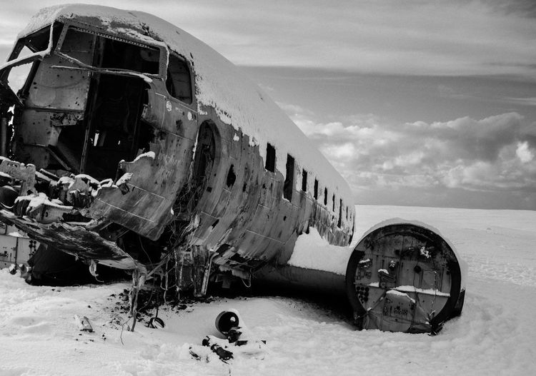 Douglas Super DC-3 Abandoned Air Vehicle Airplane Beautiful Blackandwhite Clouds Cold Day DC-3 Emergency Iceland Military Nature No People Outdoors Peace Photography Plane Sky Snow Transportation Wreck EyeEmNewHere