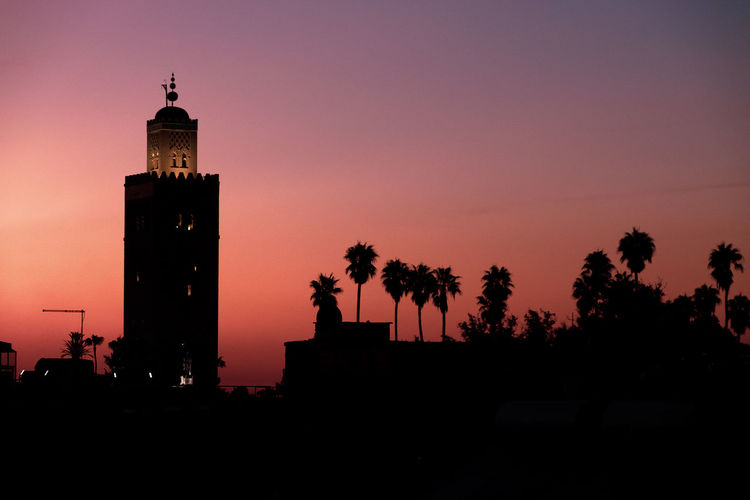 Silhouette Sunset Architecture Place Of Worship Religion Tower Dusk Travel Destinations Spirituality Sky Middle East Middle Eastern Tree Building Building Exterior No People