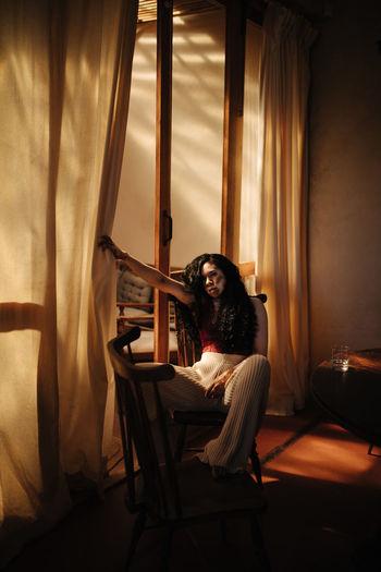 Sitting Curtain People Home Interior Seat Portrait Furniture