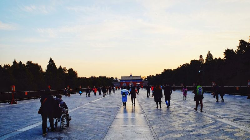 Sunset Winter Large Group Of People Outdoors Sky People Cold Temperature Day City Royalty Palace Temple Of Heaven Park Beijing, China Light And Shadow FUJIFILM X-T10 Cloud - Sky Warm Day Old Building  Travel History Architecture Warm Colors Sunlight Warm Winter Travel Destinations