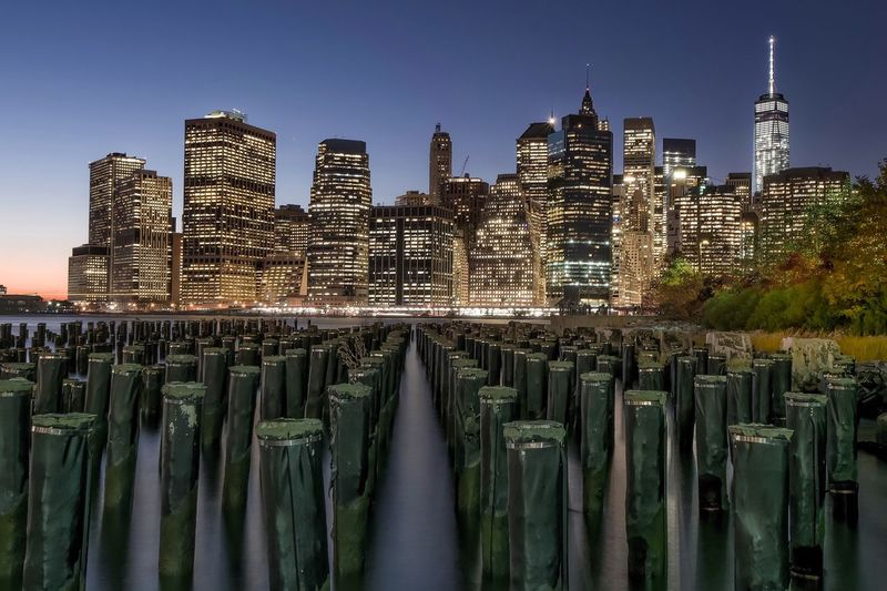Manhattan Newyorkcity Brooklyn Cityscapes Long Exposure Shot Long Exposure After Dark