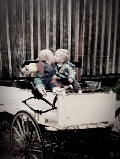 Baby love! Boy Girl Kiss Wagon  Vintage Old-fashioned Cousin Babyboy Babygirl Barn Childhood Happiness EyeEmNewHere