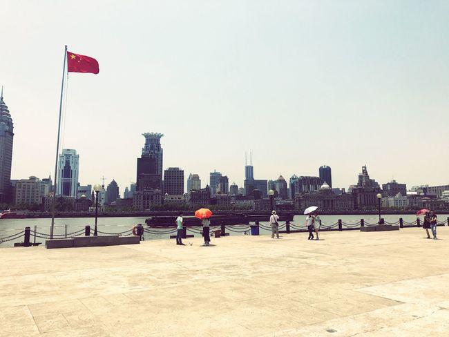 Shanghai, The Bund Chinese Flag Umbrellas Shanghai The Bund The Bund Shanghai