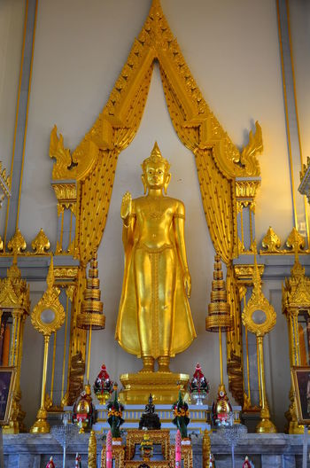 Buddha Statue Gold Gold Colored Place Of Worship Religion Standing Buddha ฺีBuddism Is Love