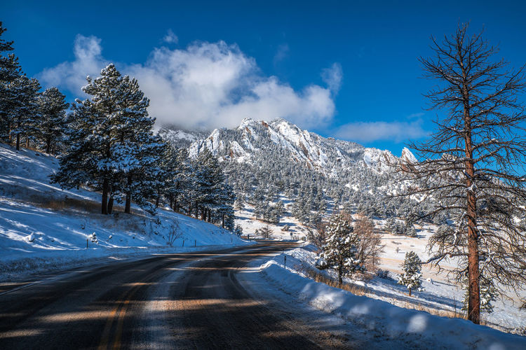 Boulder Colorado Boulder Snow Winter Wonderland Flatirons Rocky Mountains Colorado Winter Cold Temperature Sky Cloud - Sky Tree Plant Nature Beauty In Nature Tranquility Scenics - Nature Road Tranquil Scene Mountain No People Transportation Non-urban Scene White Color Day Snowcapped Mountain