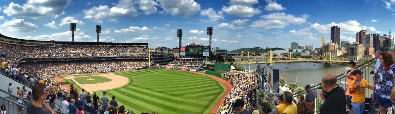 """Take Me Out to the Ballgame"" Sport Stadium City Large Group Of People Sky People Baseball Baseball Field Baseball Game Cityscape City View  Bridges Pittsburgh Fun Clouds Clouds And Sky IPhoneography IPhone Iphonephotography"