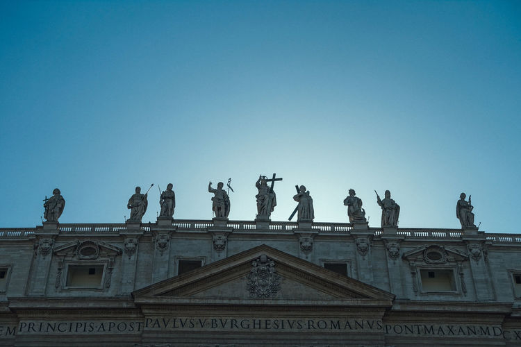 Vatican Architecture Art And Craft Building Exterior Built Structure City Clear Sky Day History Human Representation Italy Low Angle View Male Likeness Nature No People Outdoors Representation Rome Italy Sculpture Sky Statue The Past Travel Destinations