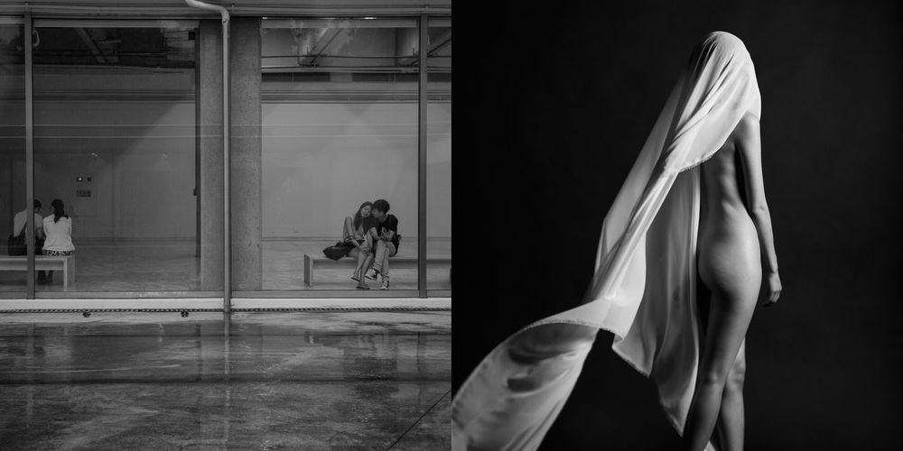 Woman with umbrella walking on glass window