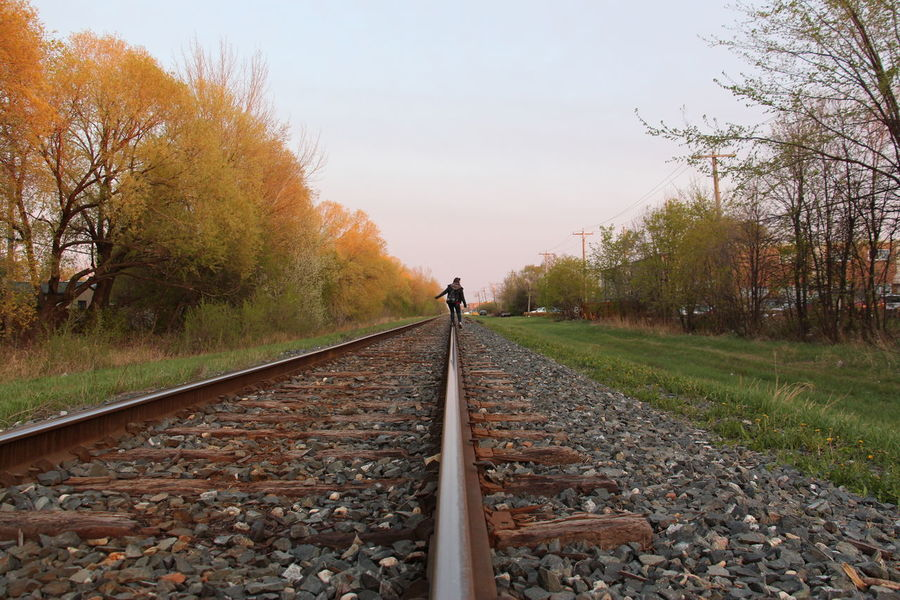 Close Up Depth Of Field Diminishing Perspective Outdoors Railroad Railroad Track Vanishing Point
