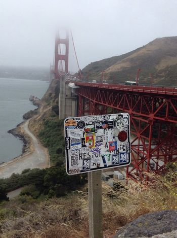 Golden Gate Bridge Summer Trip Summer Travel Foggy Cliff San Francisco California USA Stickers Warning Sign