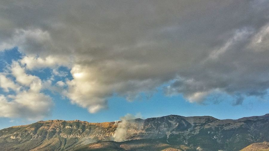 Mountain Cloud - Sky Sky Outdoors Landscape Nature No People Scenics Beauty In Nature Day Tree The Week On EyeEm Nature Trees And Nature Tree Fire Firewood Smoke Smoke And Clouds Abruzzo Mix Yourself A Good Time