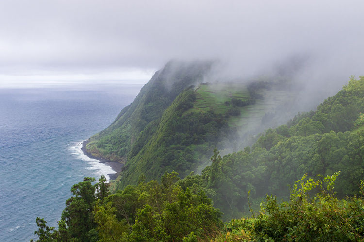 Scenic view from the viewpoint miradouro da ponta do sossego, east of sao miguel island, azores