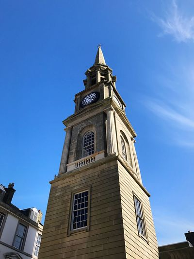 Falkirk steeple EyeEmNewHere Low Angle View Blue Architecture Built Structure Clear Sky Building Exterior Tower Clock Religion Clock Tower No People Place Of Worship Outdoors Day Spirituality Sky Bell Tower