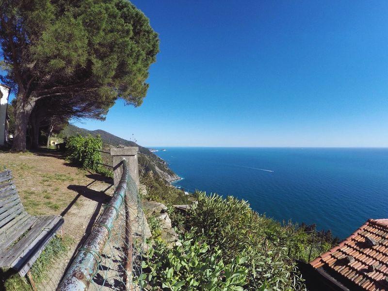 Riomaggiore Cinque Terre Montenero Santuario Liguria Laspezia Travel Destinations sSeahHorizon Over WaterwWaternNaturecClear Sky