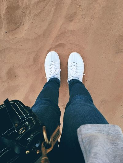 Sandpit. 🐫 Let's Go. Together. Low Section Human Leg Shoe Personal Perspective Human Body Part Standing One Person Jeans Real People High Angle View Human Foot Lifestyles Men Leisure Activity Directly Above Day Outdoors One Man Only Adult People