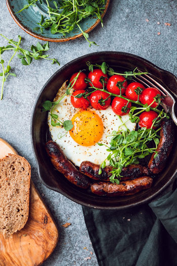 Breakfast Time Table Fried Egg Pan English Sausages Cherry Tomatoes Black Microgreens Bread Eating Food Morning Bacon Toast Omelet Dish Background Vegetable Meal Fry Tasty Cooking American Roasted Yolk Traditional Homemade Food And Drink The Foodie - 2019 EyeEm Awards