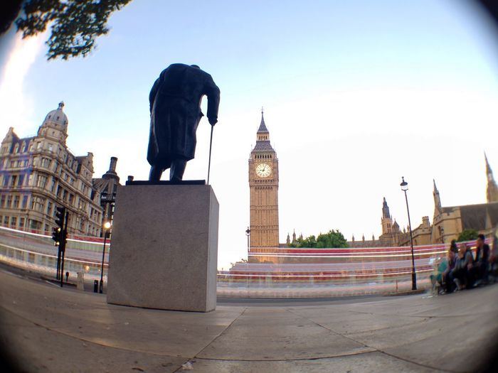 Winston Chrchill statue and Big Ben, London. Big Ben Houses Of Parliament London Westminster Winston Churchill Memorial Statue Landmark Tourist Destination Motion Blur Traffic