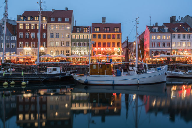 Nyhvan Architecture Blue Hour Boat Canal Capital Cities  City Copenhagen Danmark Europe Famous Place Harbor Illuminated Long Exposure Nautical Vessel Nyhavn Outdoors Reflection Scandinavia The Week On Eyem Transportation Travel Travel Destinations Travel Photography Twilight Water