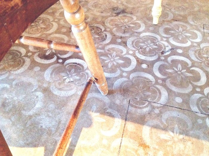 Let sit down and talk … how are you? Chair Painted Floor Broken Florida St Pete Beach