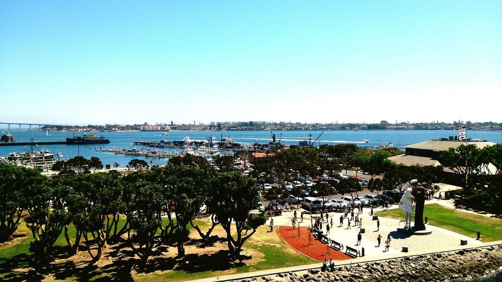 USS Midway  Sandiego Sea Beach Water Sunny Clear Sky Horizon Over Water Sky Day Outdoors Blue Nature Full Length People Beauty In Nature Adult Adults Only Tree Only Women One Person